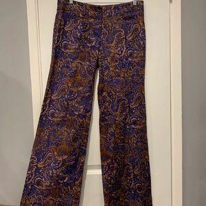 Loft Marisa Paisley Floral Linen Pants Women Sz 0